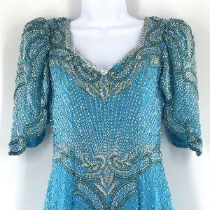 Lillie Rubin Blue Silver Beaded OpenBack Silk Gown